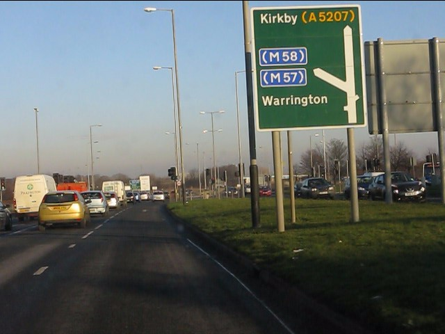 A580 at the junction for the M57
