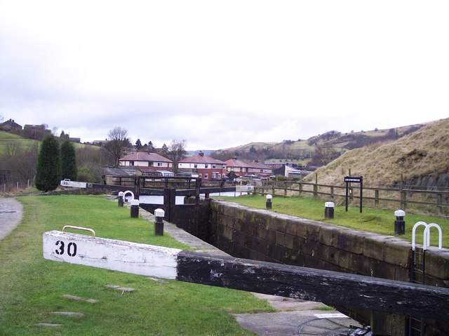Wintersbutlee Lock on the Rochdale Canal
