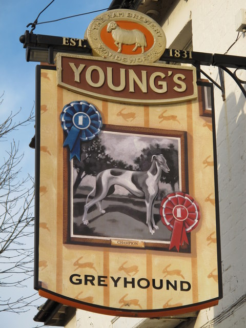 Sign for The Greyhound, Church End, NW4