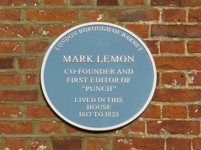 Blue plaque re Mark Lemon on Church Farm House Museum, Church End, NW4