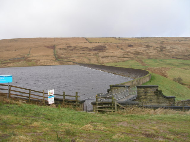 The dam at Deanhead Reservoir