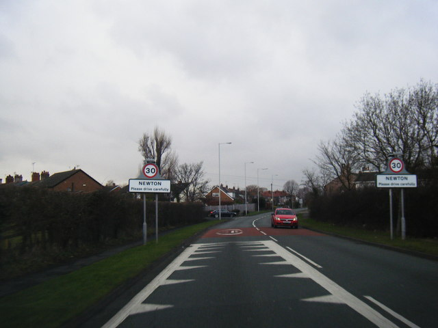 Frankby Road at Newton village boundary