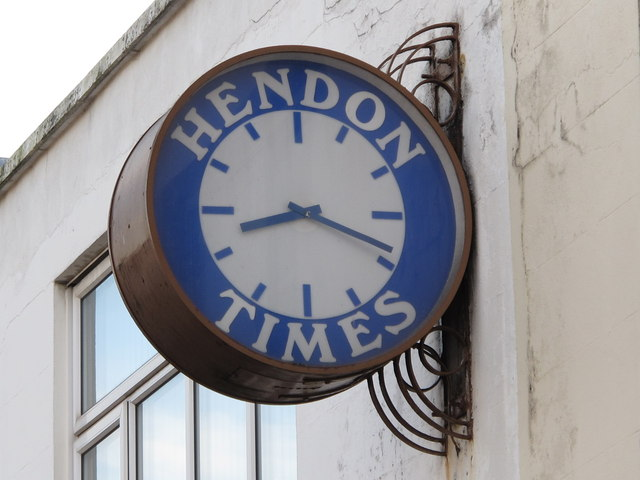 Clock on the offices of the Hendon Times, Church Road, NW4