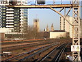 TQ3078 : Vauxhall station looking north: the Houses of Parliament by Christopher Hilton
