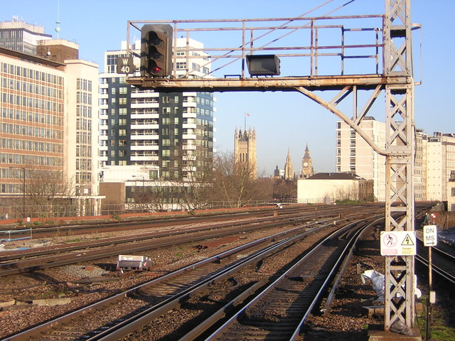 Vauxhall station looking north: the Houses of Parliament