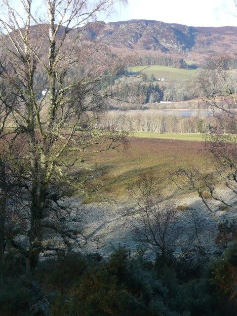 Looking across muddy fields to Loch of Butterstone