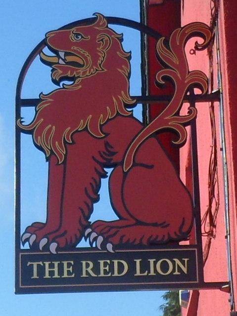 Heraldic pub sign, The Red Lion, Bonvilston