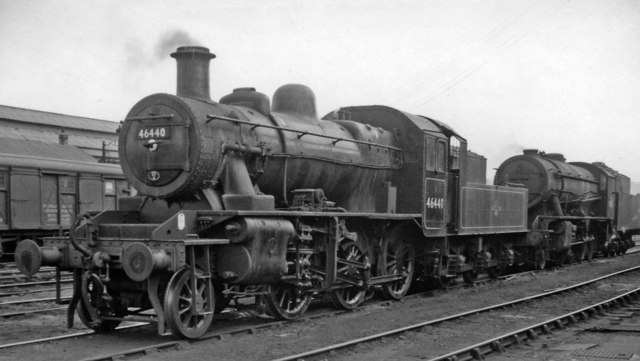 LMS Ivatt 2MT 2-6-0 in yard at Derby Locomotive Depot