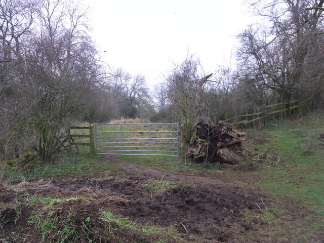 Gate on footpath above The Guild House,  Stanton
