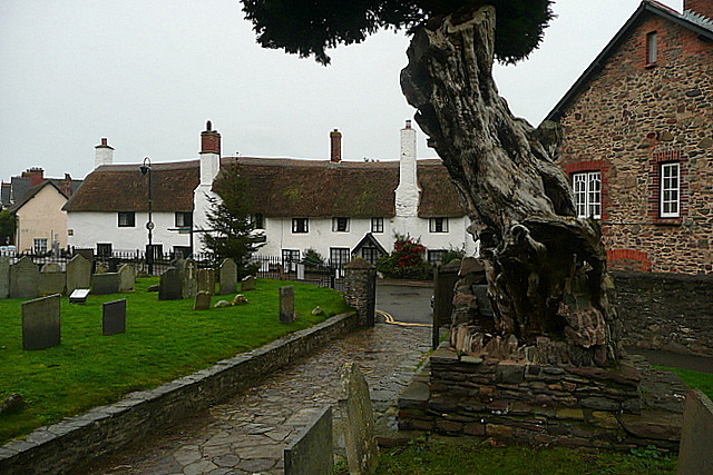 Porlock churchyard and High Street