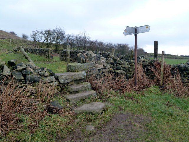Stile and footpath junction