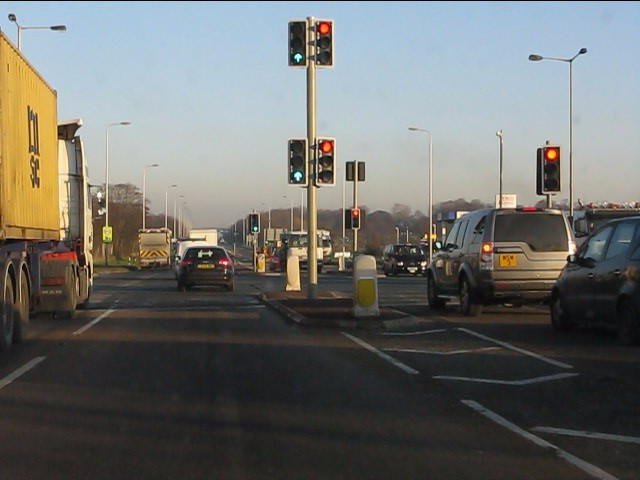Co-acting traffic lights at the A580/A570 junction