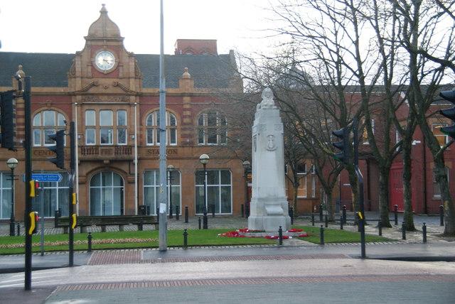 War memorial by Salford Crescent