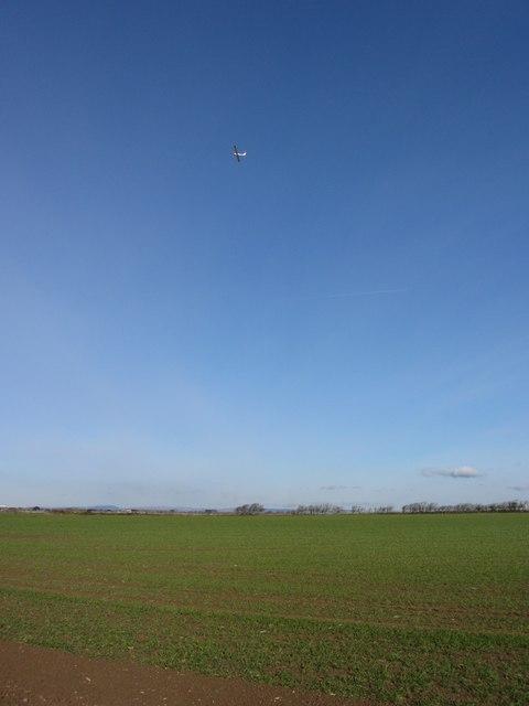 Fields and plane near Llantwit Major