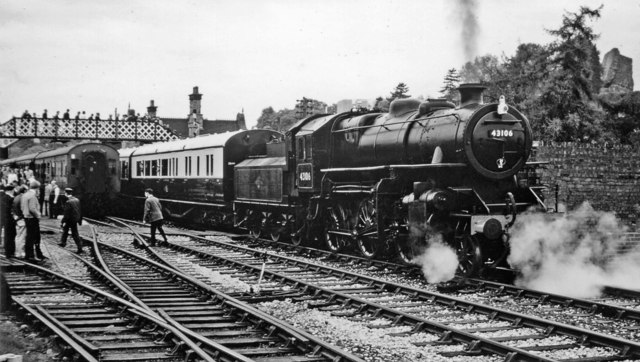 Bridgnorth with train to Hampton Loade on Opening Day of Severn Valley Railway, 1970