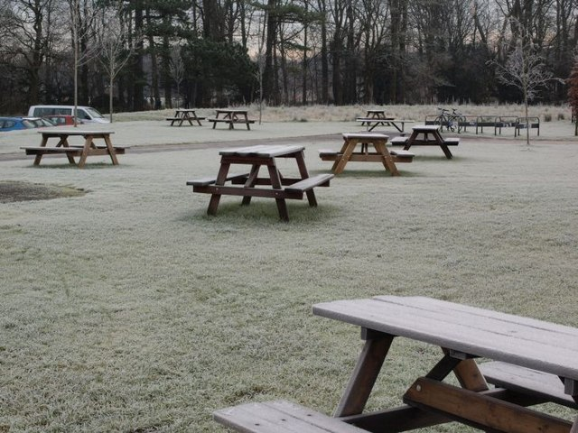 Frosty picnic benches