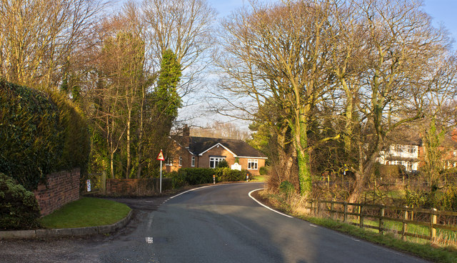 A bend in the road to New Lane End
