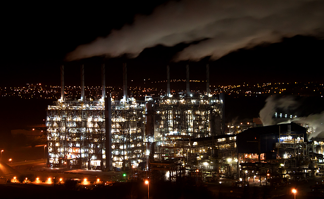 Fife ethylene plant at night