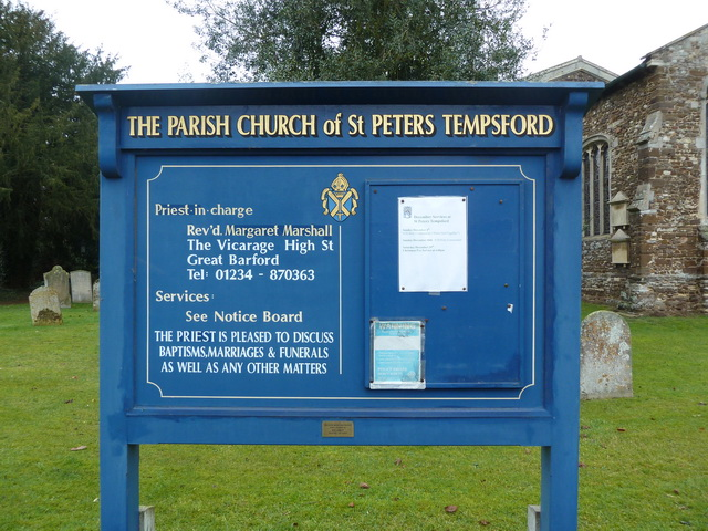 The Parish Church of St Peter, Tempsford, Sign