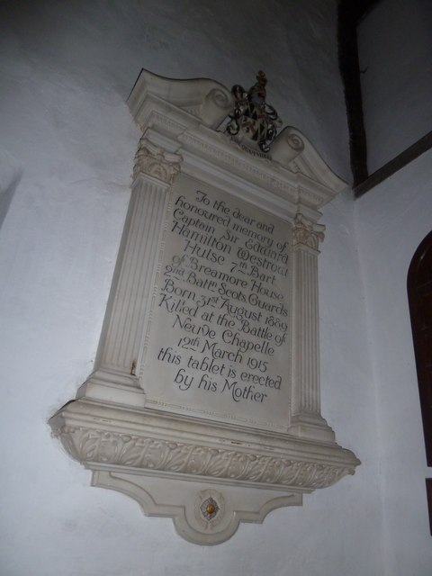 St Mary's Church, Breamore- memorial (j)