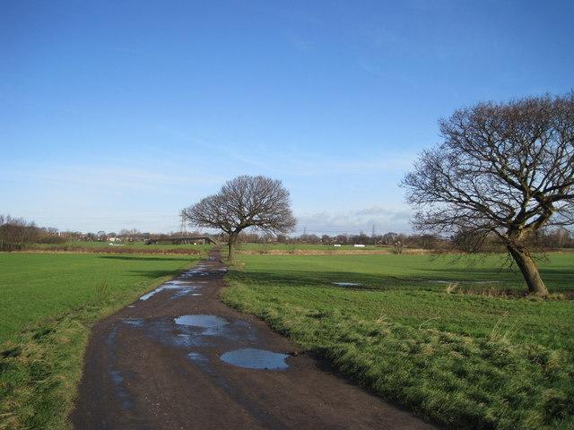 Farm track to M62 footbridge
