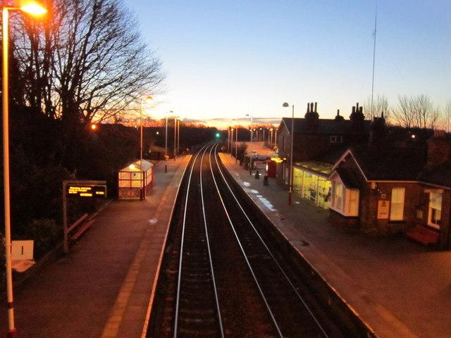 Garforth rail station at dawn