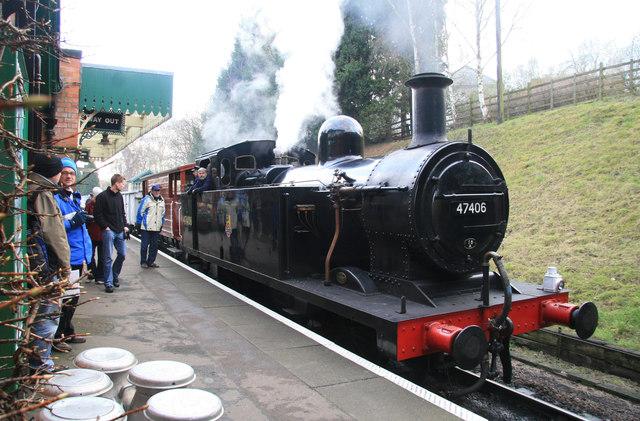 Rothley Station - a rake of mineral waggons behind a 'Jinty'