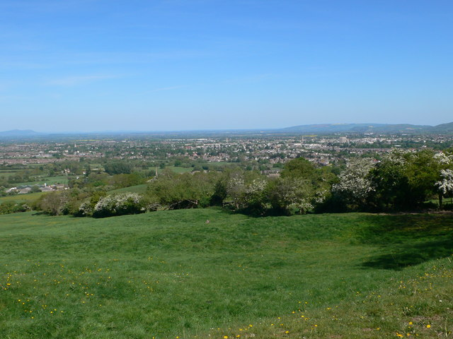 Looking down on Cheltenham from Leckhampton Hill