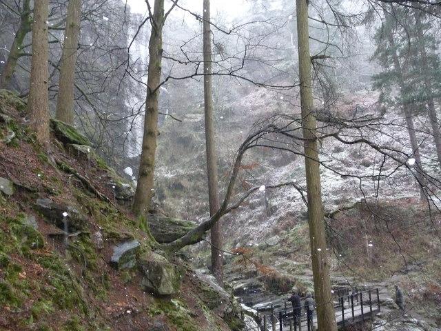 Below Pistyll Rhaeadr waterfall in winter