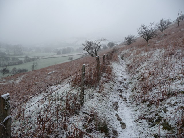 Footpath below Pistyll Rhaeadr in winter