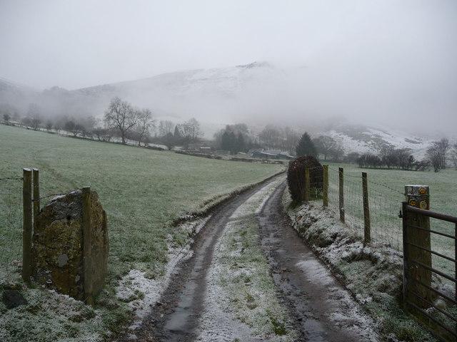 Track below Tan-y-graig farm in winter