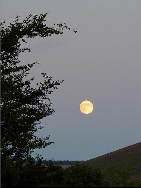 Moon over Cwm Doethie 2, Ceredigion