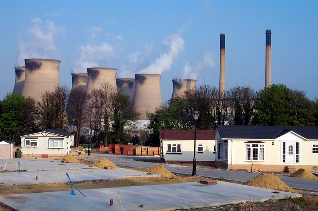 Construction of Park Homes in the shadow of Ferrybridge power station