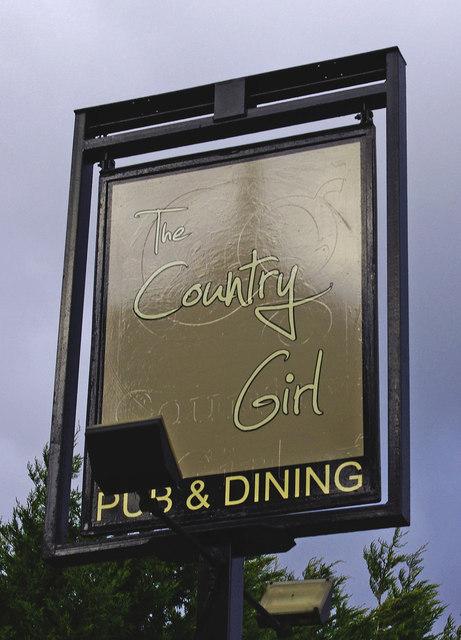 The Country Girl (2) - sign, Hanbury Road, Sharpway Gate near Bromsgrove