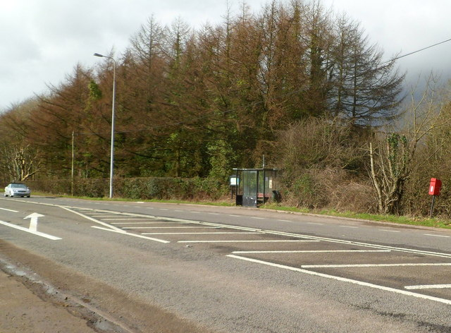 Bus shelter and postbox alongside the A48 east of Cowbridge
