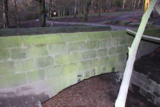 Bridge at dam head, Golden Acre Park