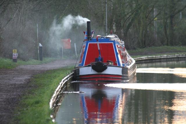 Working Narrow Boat Hadar moored near Foxton Village