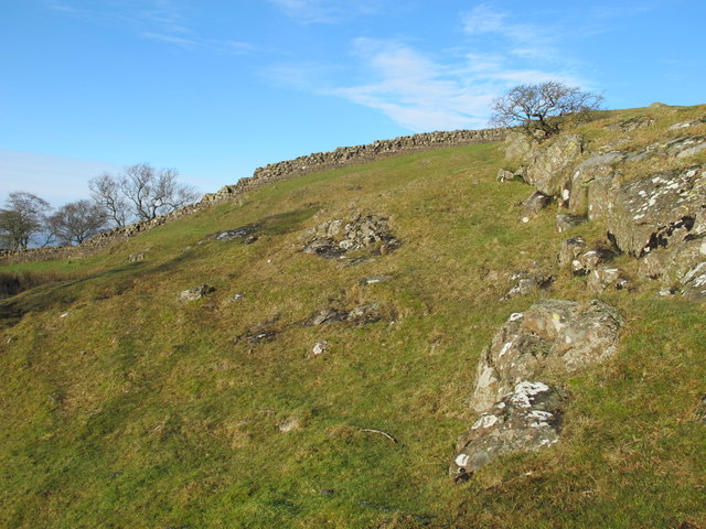 Rock outcrop below Hadrian's Wall west of Walltown Farm