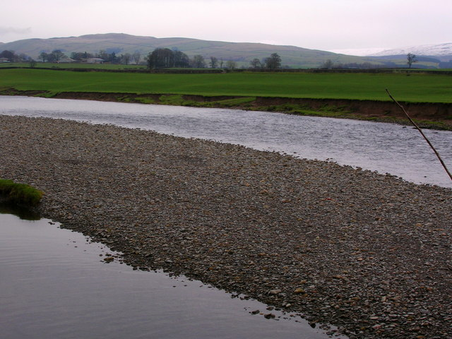 Shingle bank on the River Lune