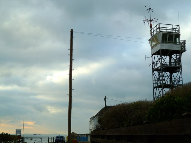 Coastguards' tower in Selsey with birds on the very top