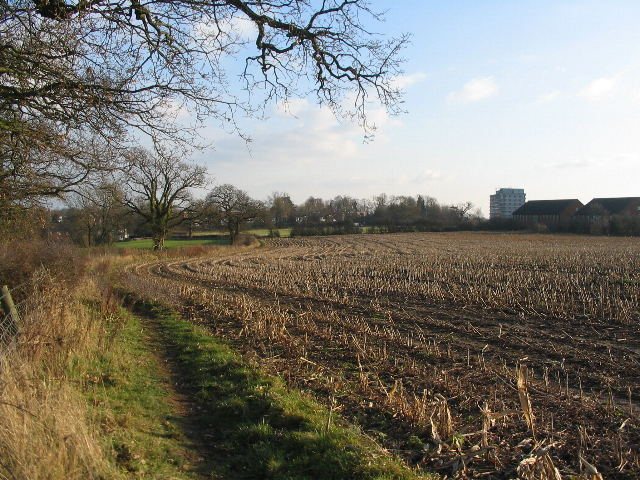 Stubble field and hotel