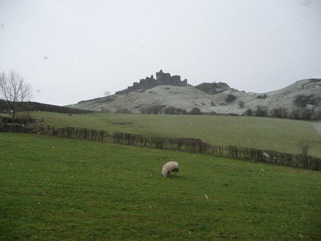 View to Carreg Cennen Castle from fields below Castle Farm