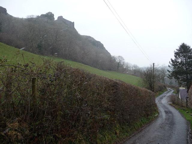 Lane below Carreg Cennen Castle in winter
