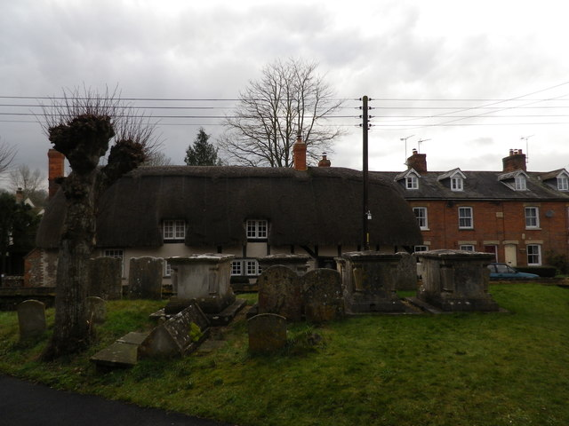 St Peter's at St Mary Bourne- cottages as seen from the churchyard