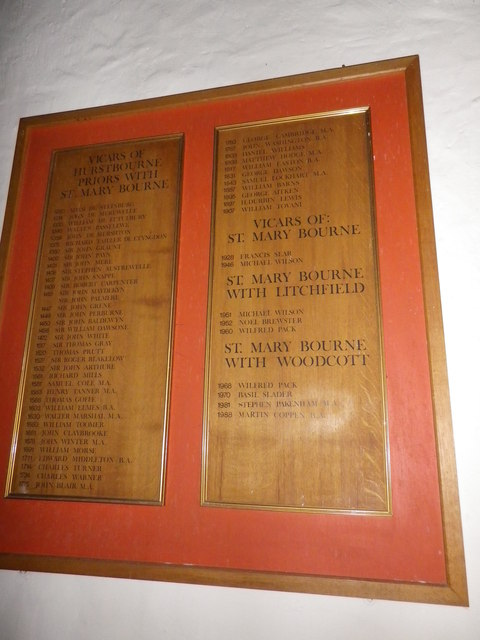 St Peter's at St Mary Bourne- incumbency board