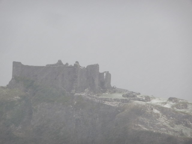 Carreg Cennen Castle in winter