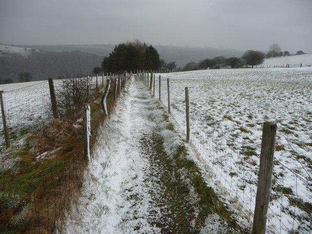 The Beacons Way near Carreg Cennen in winter