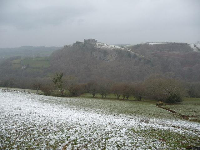 View from fields near Cerreg Cennen Castle in winter