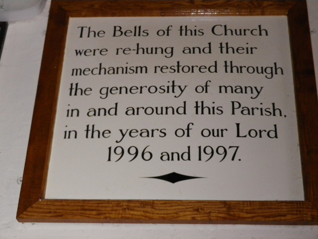 St Peter's at St Mary Bourne- bell hanging plaque