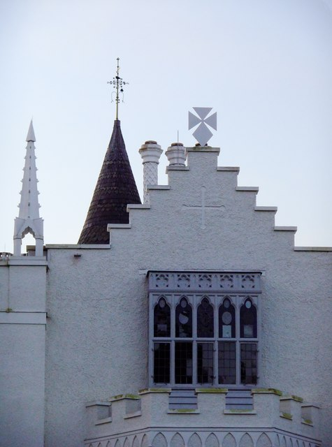 Roof-scape with crow-step gable, Strawberry Hill